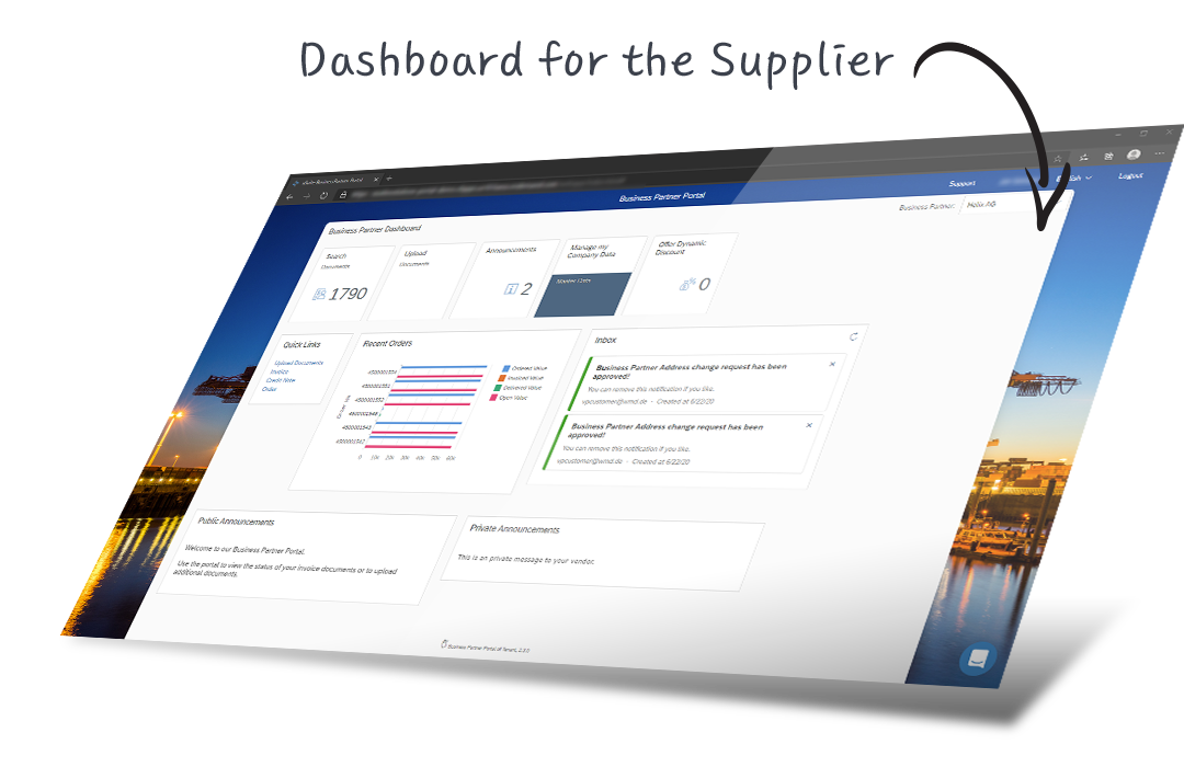 Dashboard for the supplier