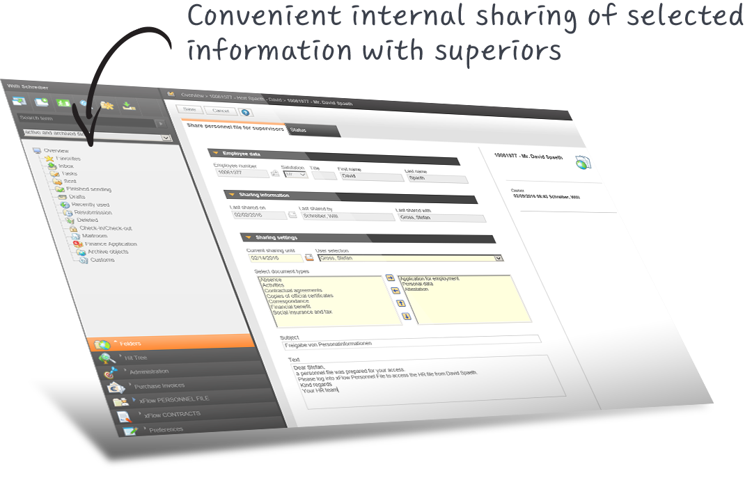 Convenient internal sharing of selected information with superiors