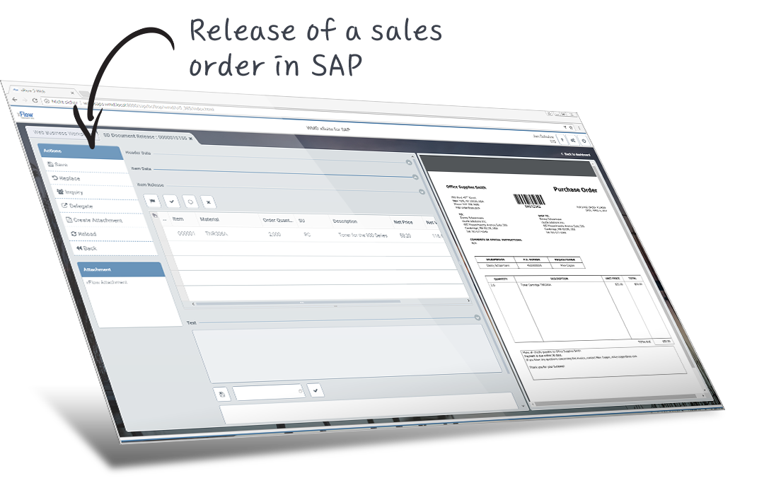 release of a sales order